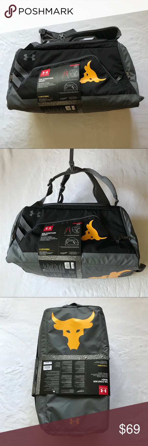 03f3fad78b Under Armour x Project Rock Contain Backpack Under Armour x Project Rock  Contain Backpack Duffle 3.0 Black and yellow colors Style #1304575  Dimensions: 11