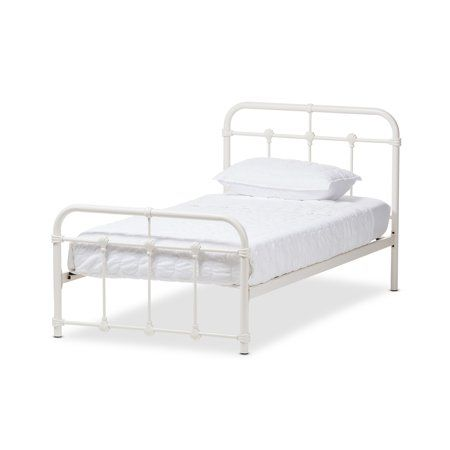ff686467d0a9c Baxton Studio Mandy Industrial White Finish Metal Platform Bed ...