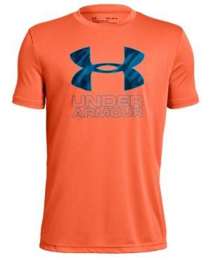 a52ced7e00 Under Armour Big Boys Logo-Print T-Shirt - Orange XL (18/20 ...