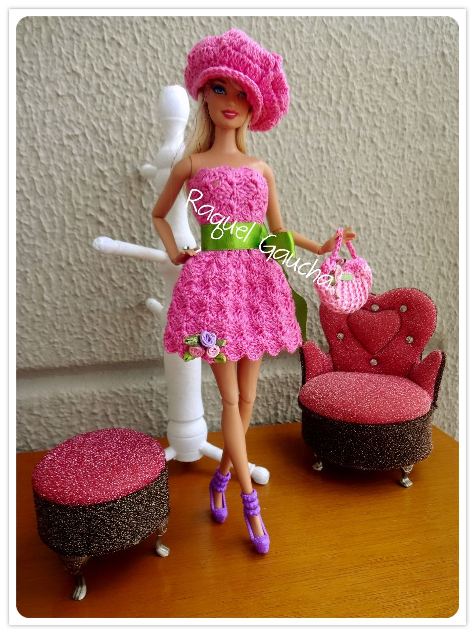 #Barbie #Doll #Cléa5 #Muñeca #Crochet #Vestido #Dress #Purse #Bolsa #Boina #RaquelGaucha