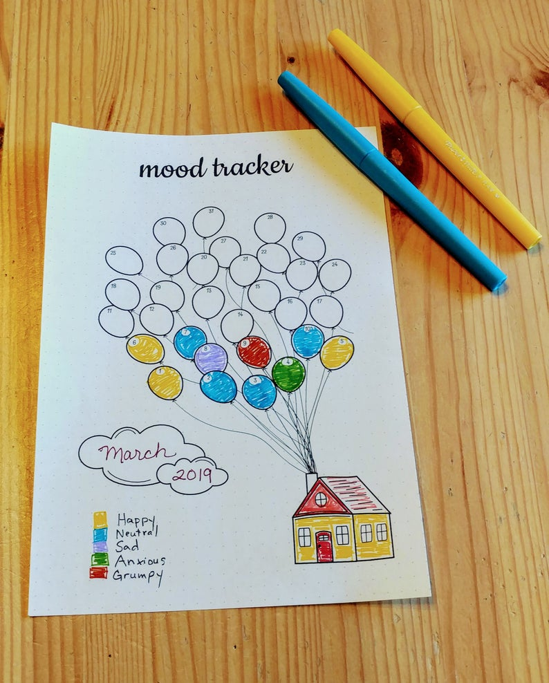 Mood Tracker Printable | Bullet Journal Printable | Bujo Printable | Journal Insert  | Balloons | Mood Log | Letter | A5 | Half Letter