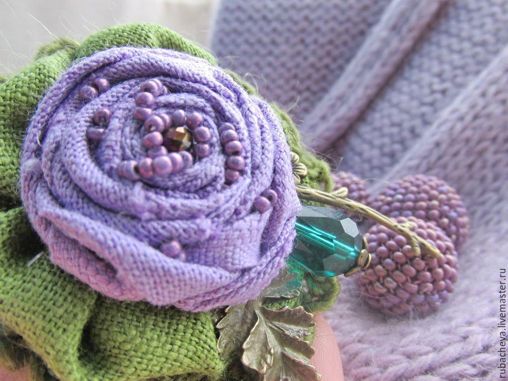 """Купить Брошь-цветок текстильная """"Теплый март..."""" - сиреневый зеленый брошь"""