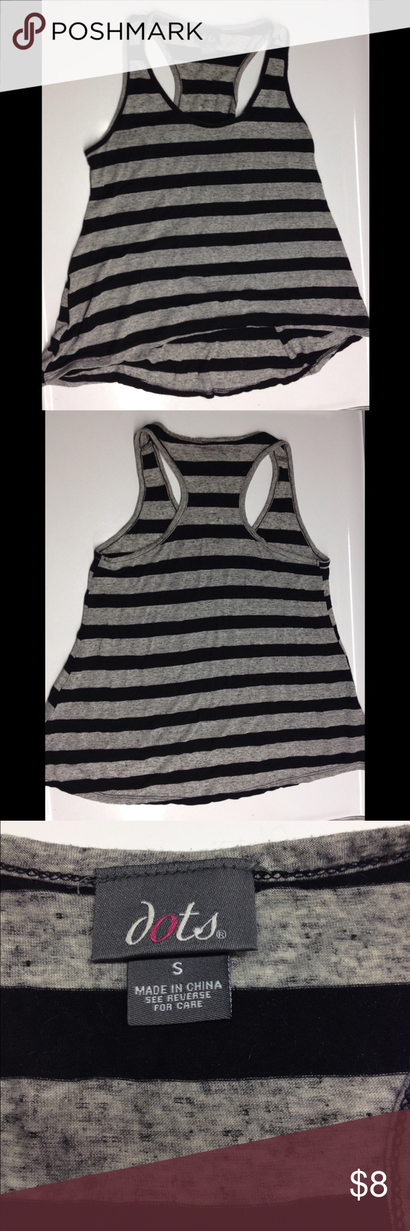 Striped tank Black and gray striped  racer back tank with flowy high/low hem. Dots Tops Tank Tops