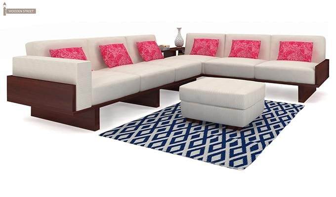 Audrey 6 Seater L Shape Corner Sofa Set (Mahogany Finish)-1 | Sofas ...