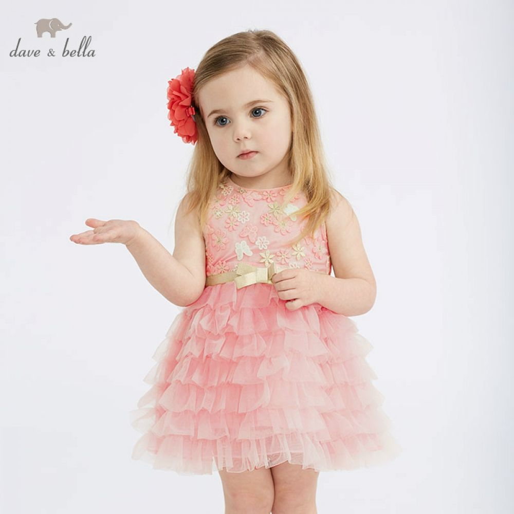 DBM10312 DAVE BELLA summer baby girl princess clothes children birthday party wedding dress kids ...