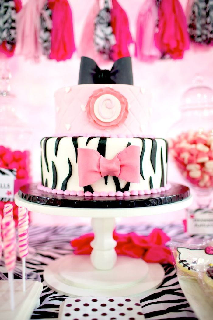 Hello Kitty Party Ideas Supplies Decor Pink zebra Themed