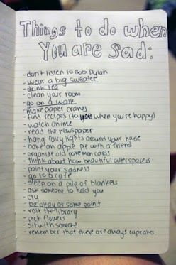 [Feel-Good Friday: What do you do when you are sad?]    A few months ago a dear friend IMed to tell me he was feeling depressed and alone. As it so happened, I'd had a rough week, too. Inspired by the below image, I decided we should go back and forth listing off the things one should do when they feel sad. My list is below, but it's hardly complete. Maybe you can help me remember some others or introduce...  展开此信息 »