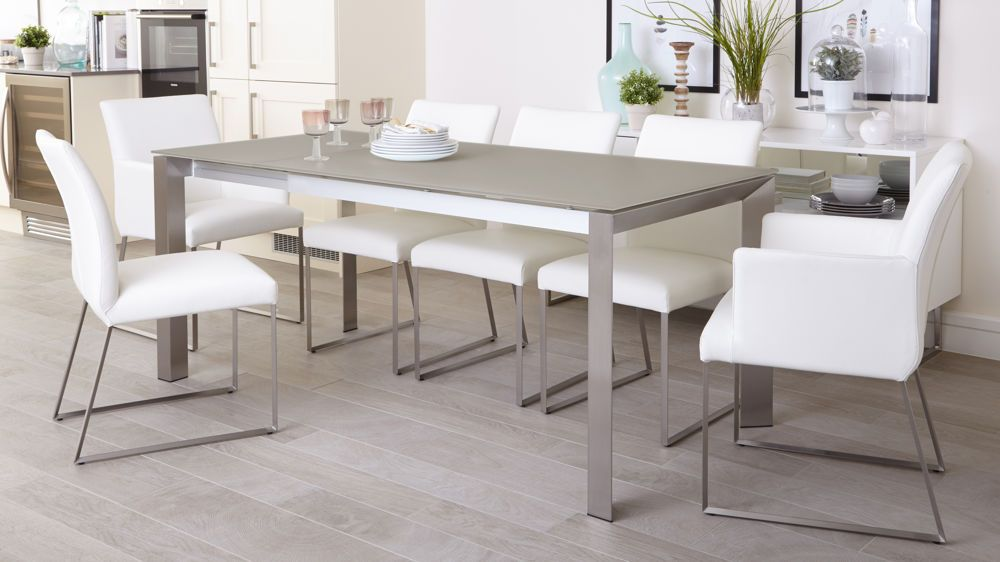 Eve Grey Frosted Glass With Brushed Stainless Steel And Monti Leather Extending Dining Set White Glass Dining Table Extendable Dining Table Dining Table Chairs