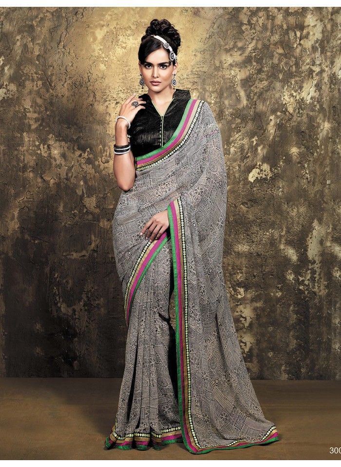Grey Georgette Printed saree - Buy Online in India | PepperCloset.com