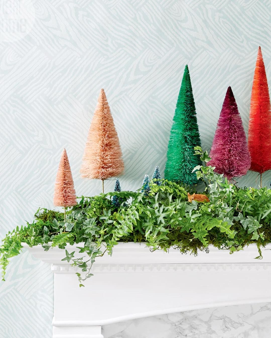 Bottle Brush Trees Dressing Up The Mantel Christmas Tree And Fireplace Christmas Mantle Decor Fireplace Garland