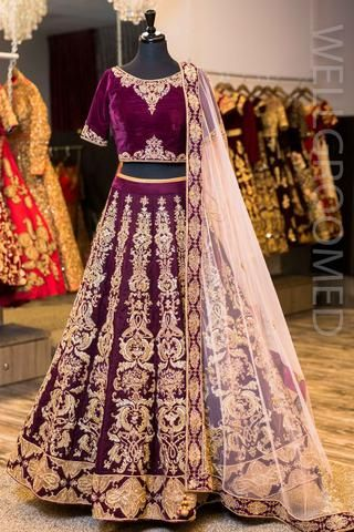 Deep Purple Velvet Lengha Indian Wedding Lehenga Bridal Lehenga