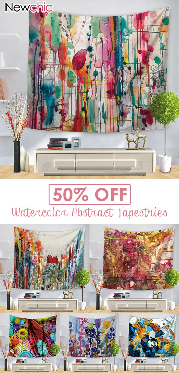 Photo of 【50% off】Watercolor Abstract Printing Wall Hanging Tapestries Home Living Ro…
