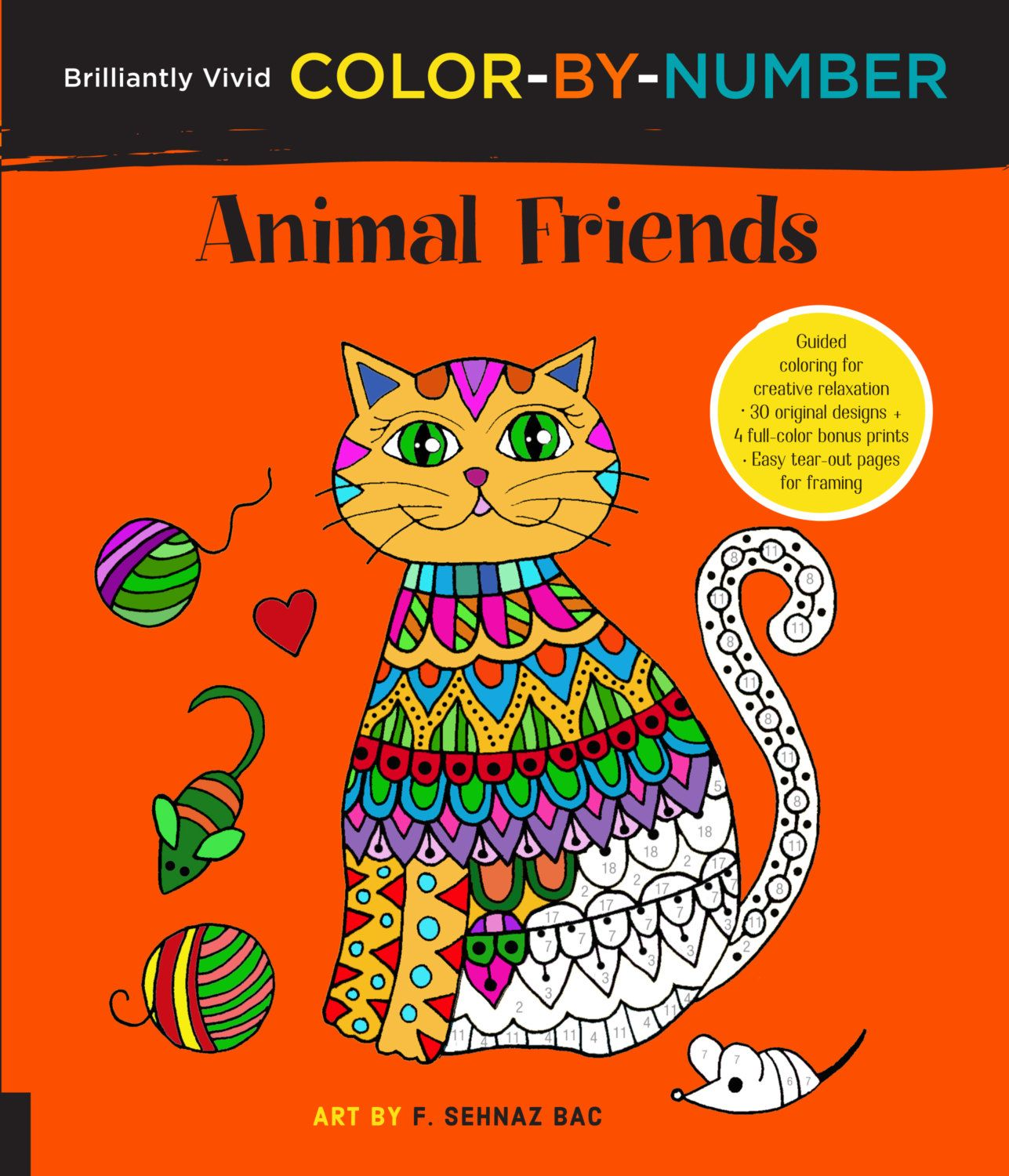 Coloring Book Brilliantly Vivid Color By Number Animal Friends