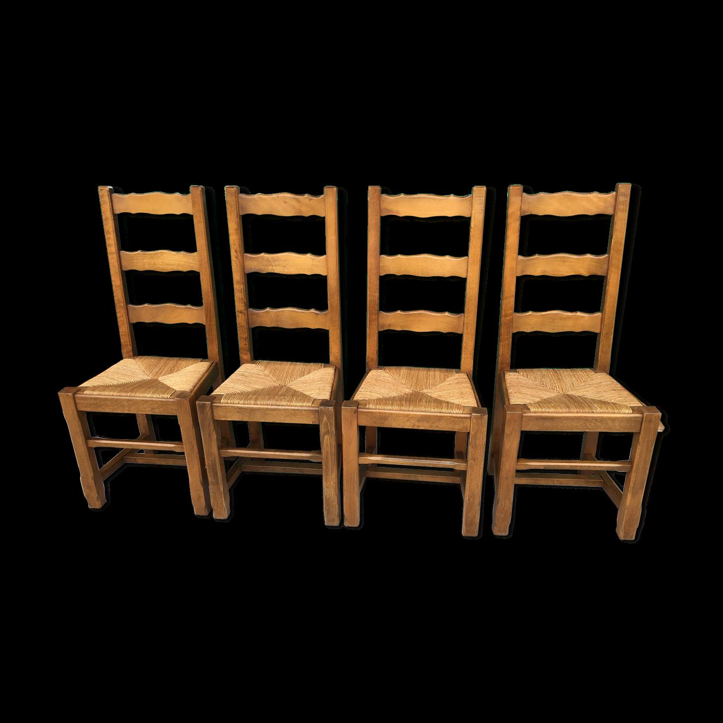 Lot De Quatre Chaises Paillees Chaise Paille Chaise Et Bois