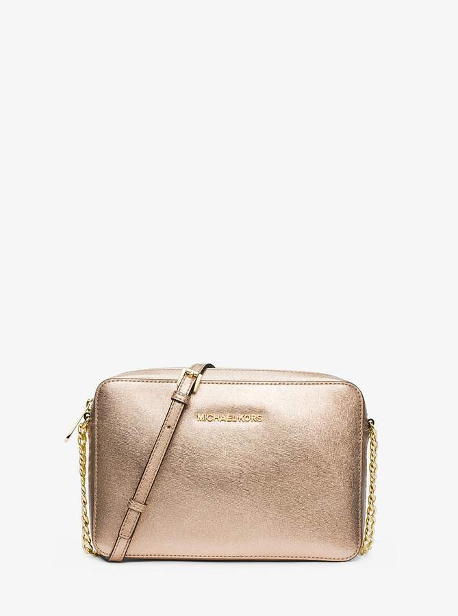 72d9e3ba4ce1 MICHAEL Michael Kors Jet Set Travel Metallic Saffiano Leather Crossbody