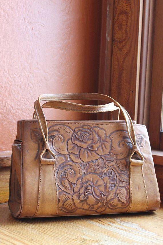 Vintage Leather Handbag Hand Tooled By Sondervintage 45 00