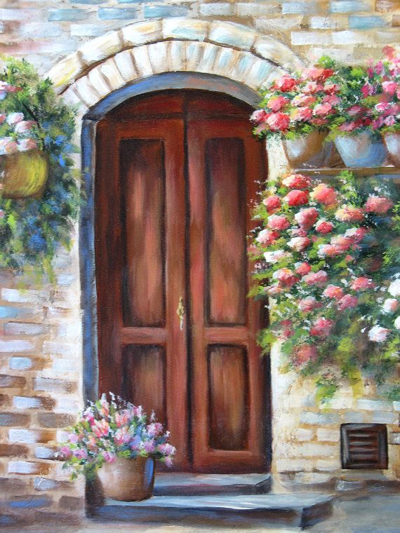 TUSCAN DOOR, an original acrylic painting Toscana, Originales y - fachadas originales
