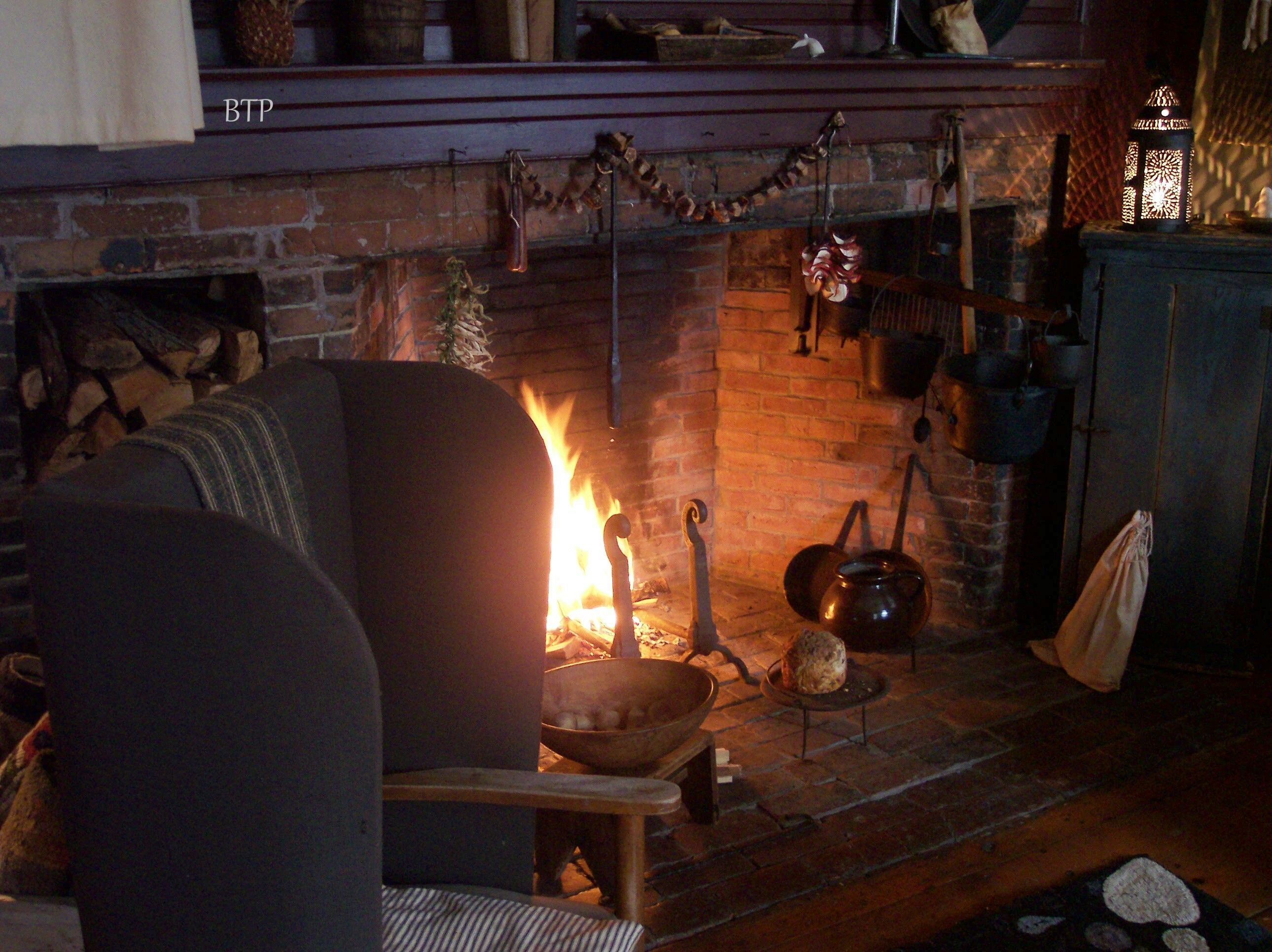 A Cold Winter Nights Warmth Primitive Fireplace Fireplace