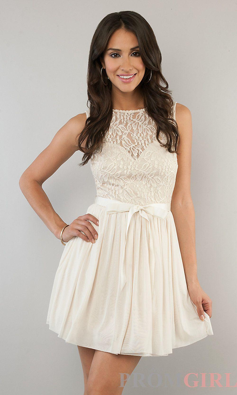 8c431ce52 Short Sleeveless Lace Dress, Lace Junior Prom Dresses- PromGirl ...