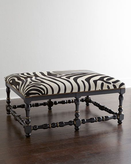 Awesome Zebra Print Hairhide Bench Benches And Chaise Zebra Machost Co Dining Chair Design Ideas Machostcouk