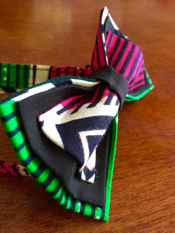 African Print Bow tie Unique bow tie green bow tie