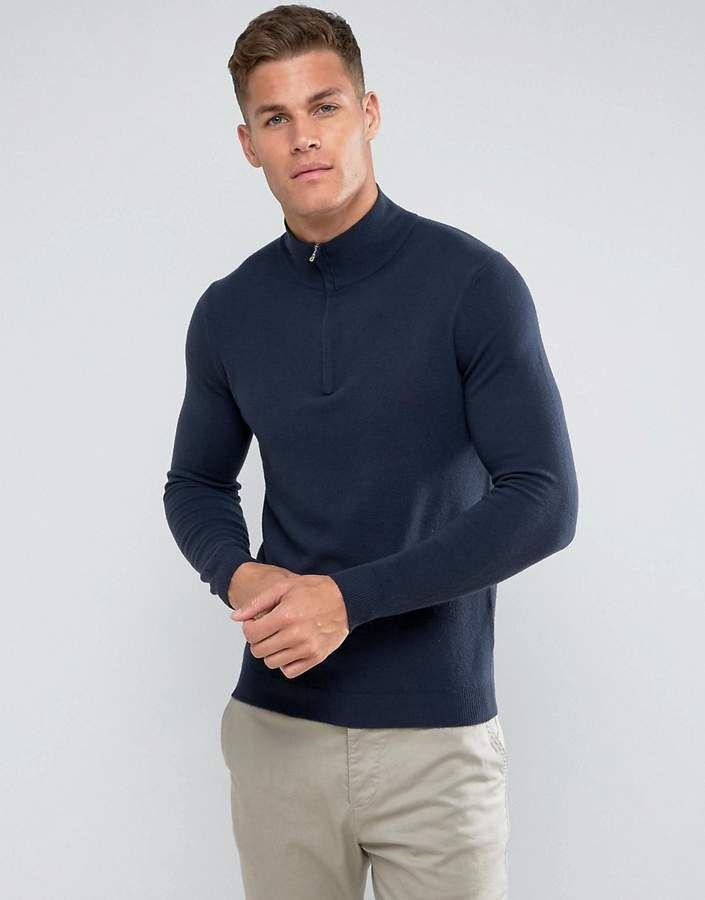 dd805f6b471 Benetton Half Zip 100% Merino Sweater In Navy | Products | Latest ...