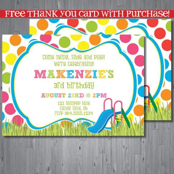 park Birthday Invitation first birthday party invitation slide – Park Birthday Invitations