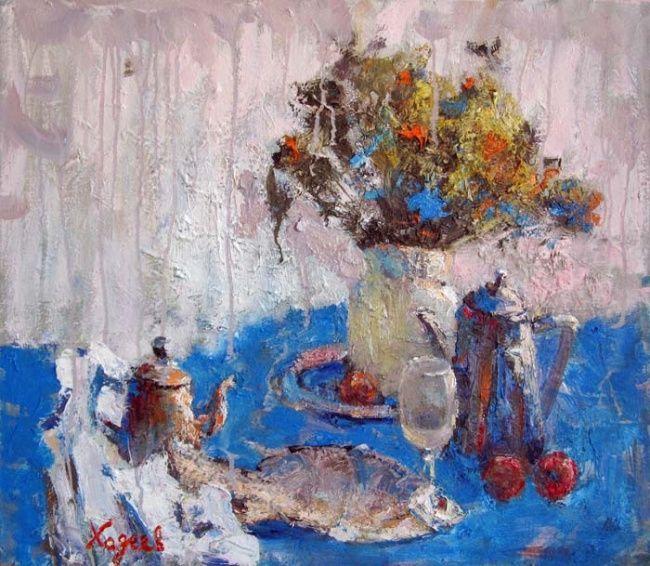 fish on blue Valeri Hadeev