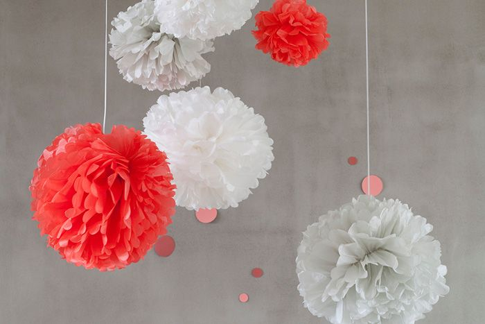 Set of 3 Soft & Neon Tissue Paper Pom Poms - New Wedding in a Teacup