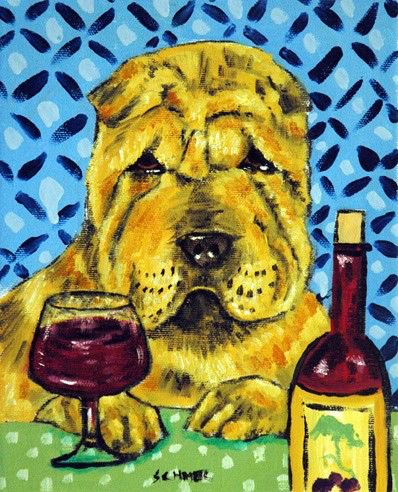 Shar Pei art, shar pei print, shar pei dog, 8x10 print, wine, gift for wine lover, modern dog art, folk art by SCHMETZPETZ on Etsy https://www.etsy.com/listing/91824669/shar-pei-art-shar-pei-print-shar-pei-dog