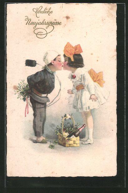 Alte Ansichtskarte: AK Schornsteinfeger küsst ein junges Mädchen auf den Mund