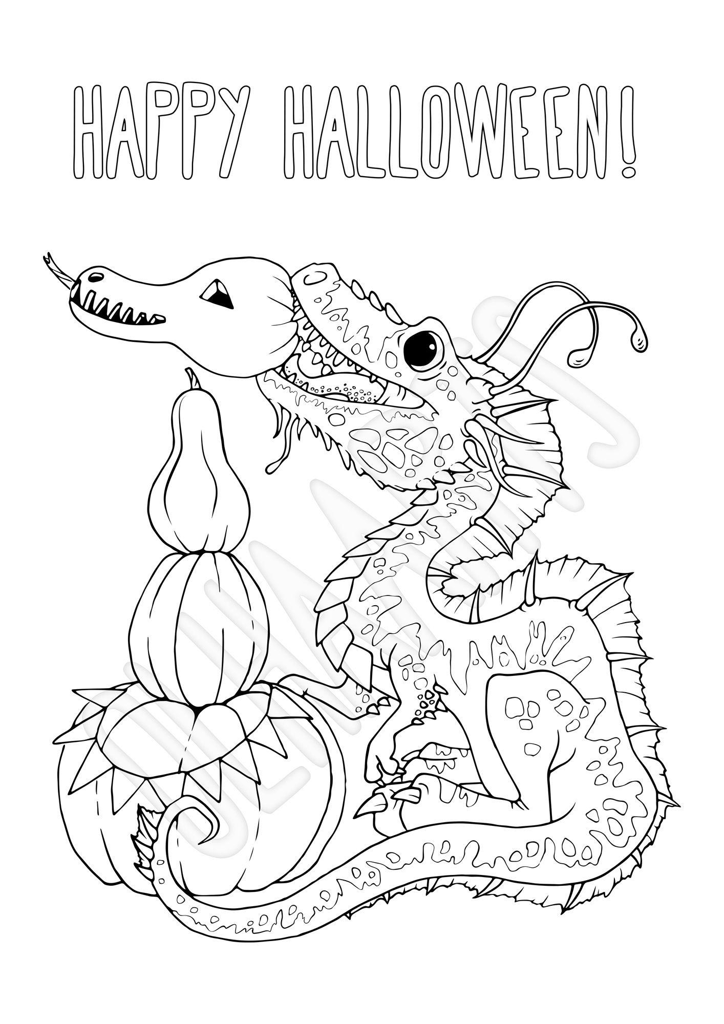 Halloween Dragon with Pumpkins, a Printable Coloring Page