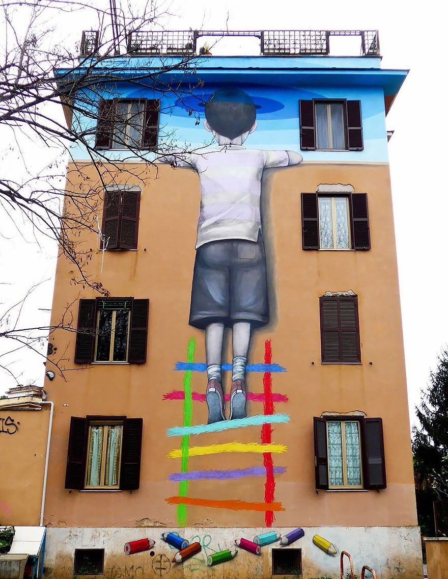 French Street Artist Transforms Boring Buildings Around The World - Artist creates clever street art installations that interact with their surroundings