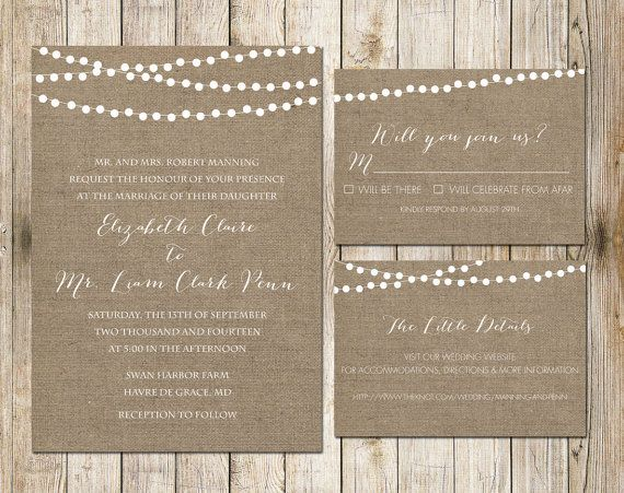 graphic about Printable Burlap Paper titled Rustic Burlap Wedding day Printable Invitation via SouthernSpruce