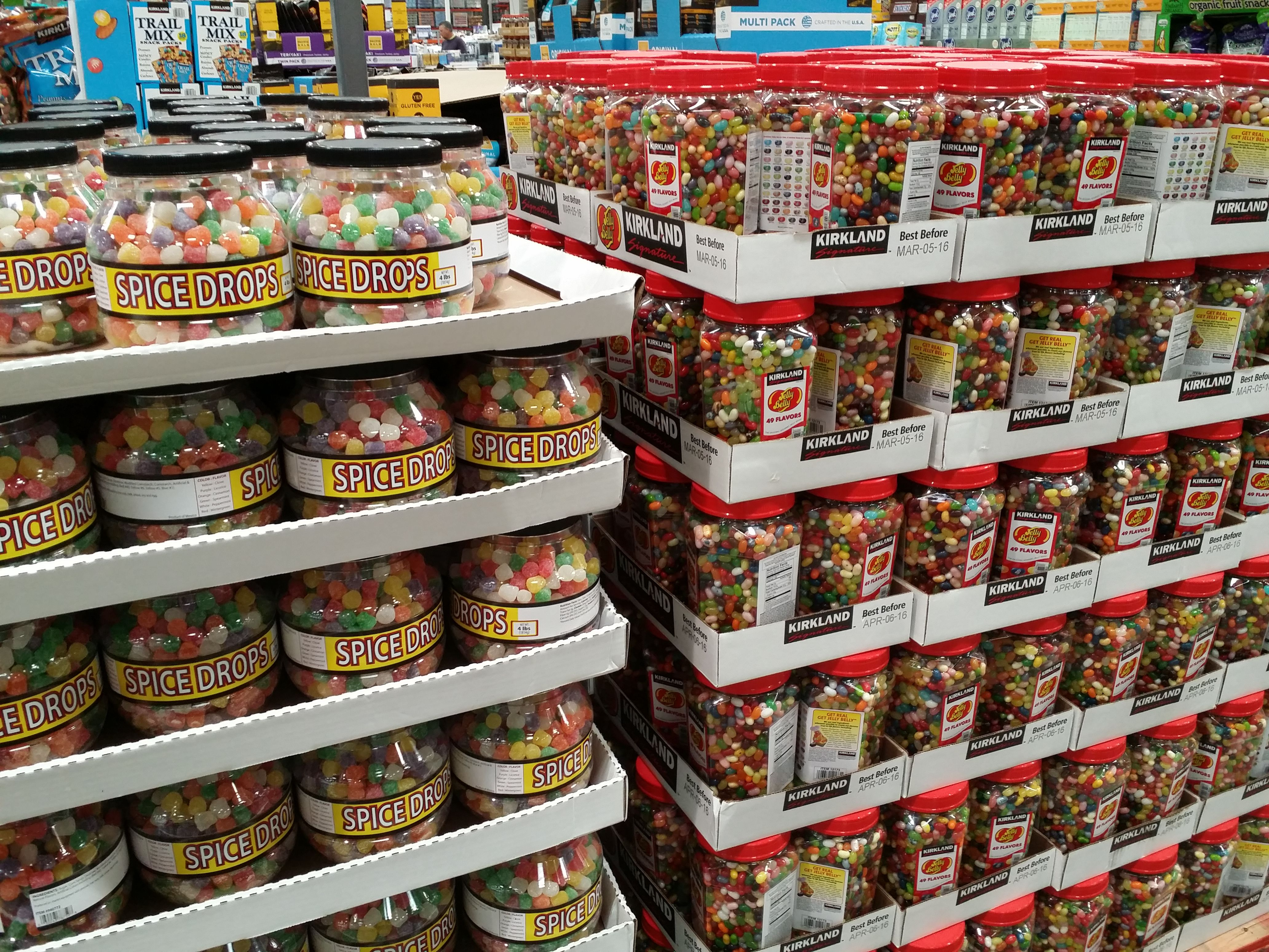 Jelly beans and gum drops in jars that fit the Snack Spout at Costco ...