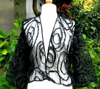 ..organza silk jacket with appliqué  a perfect accessory for a simple dress...at Ms. Emma's in Toronto