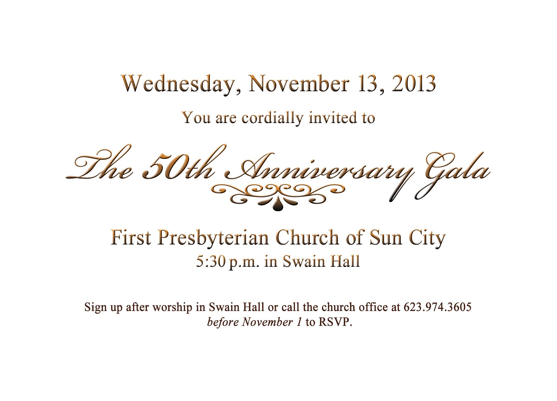 Invitation to 50th anniversary gala dinner church events invitation to 50th anniversary gala dinner stopboris Images