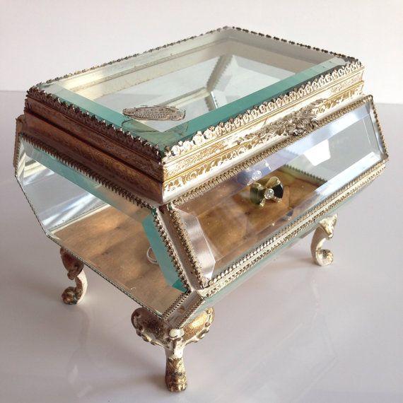 Globe Ormolu 24kt gold Beveled Glass Jewelry box1960s glass