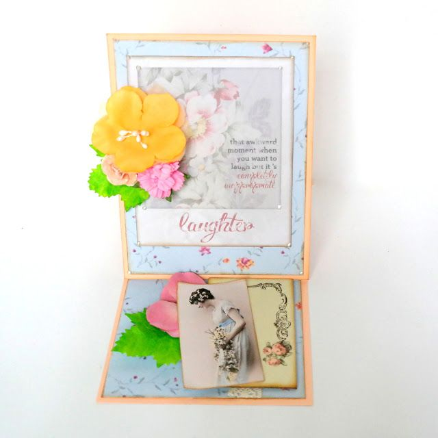"""Laughter Easel Fold Card by Dana Tatar for the Gecko Galz 6th Annual Blog Hop created using the Gecko Galz """"She is so Lovely"""" Collage Sheet, the Gecko Galz Pocket Full of Posies Digital Paper Pack, and the 7 Gypsies Poses and Reflections patterned paper. Stop by for a FREE collage sheet!"""