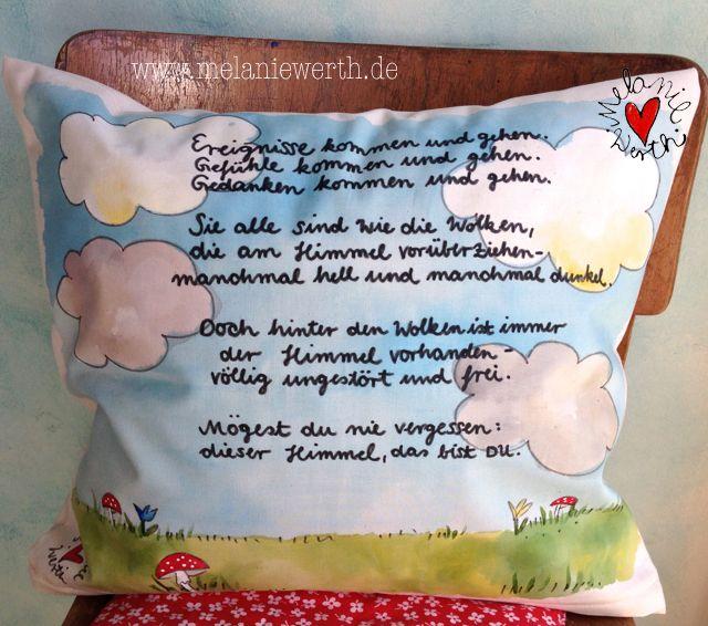 wolkenspruch kissenbezug zur taufe aus bio baumwolle. Black Bedroom Furniture Sets. Home Design Ideas