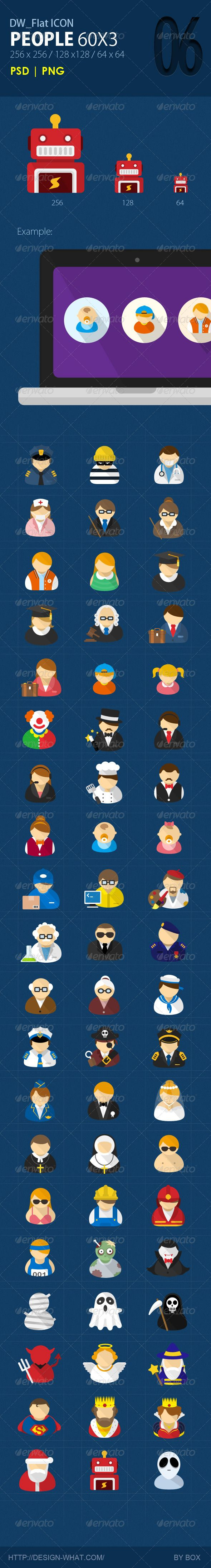 60 Flat ICONs (People) from the DesignWhat Team Flat