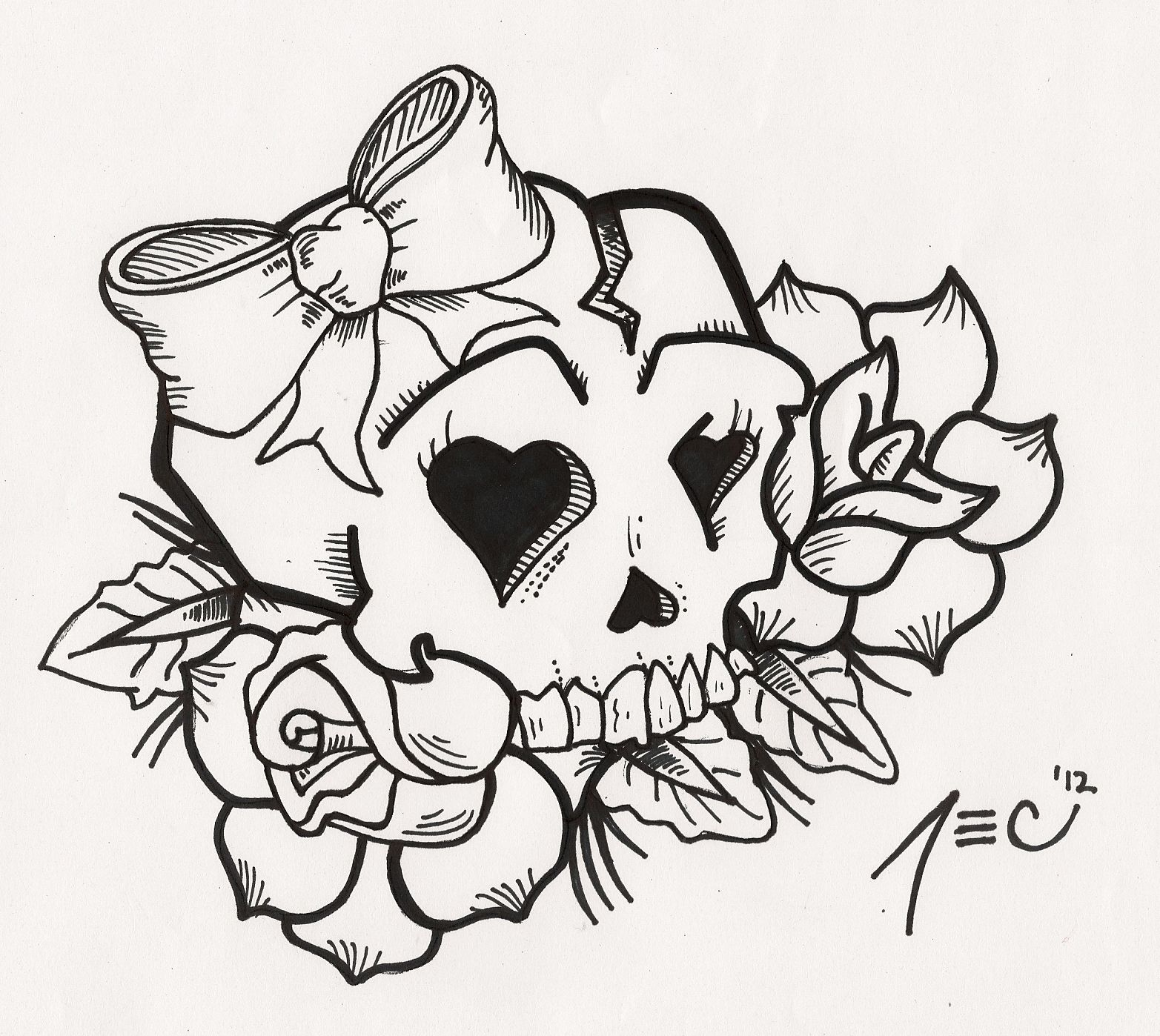 Girly Skull Tattoo By Theadrock On Deviantart Girly Skull Tattoos Skull Tattoo Design Skull Coloring Pages