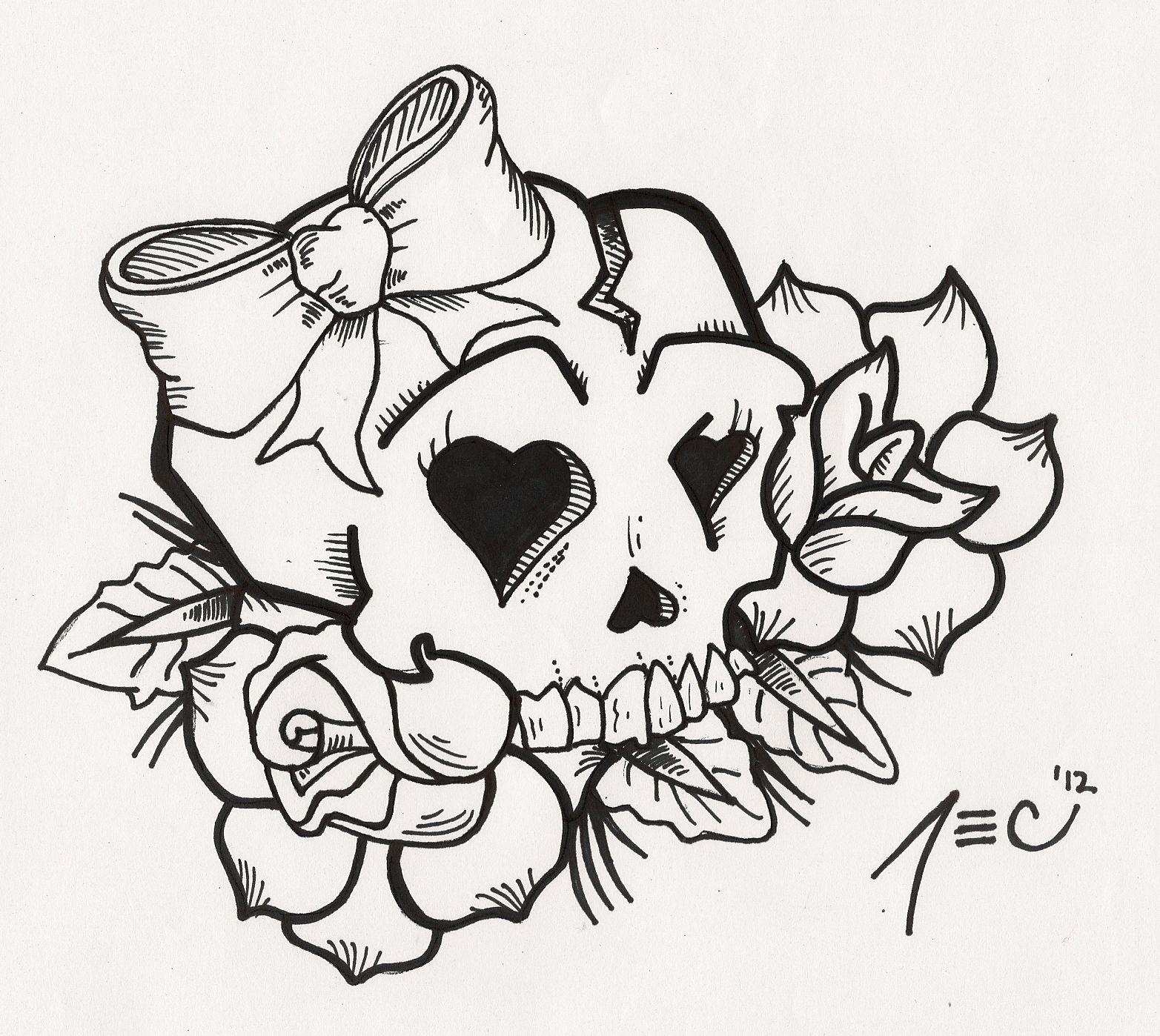 Girly Skull Tattoo by theADROCK on deviantART Girly