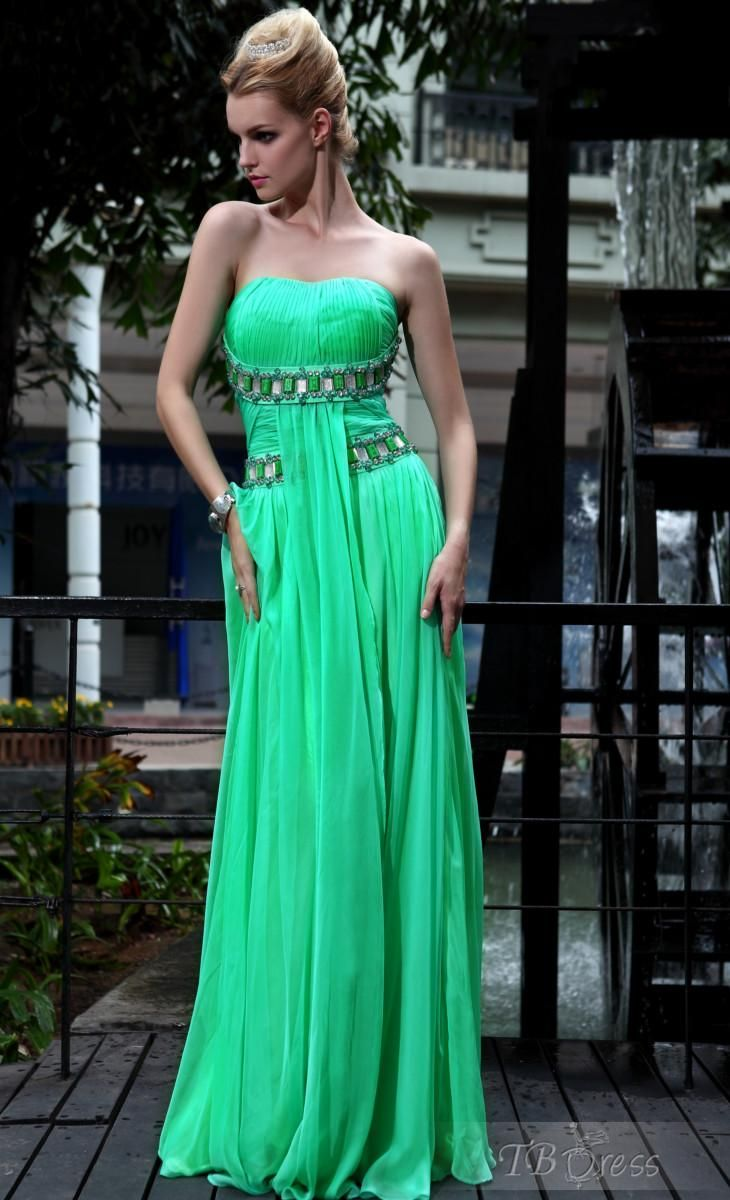 A-Line Strapless Beadings Empire Zipper-up Evening/Prom Dress ...