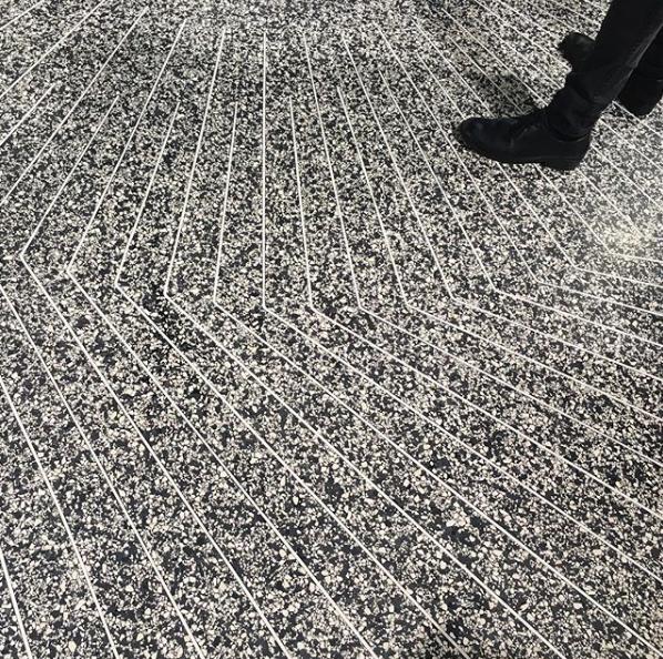 Terrazzo Floor with inlaid metal trim Dutch design