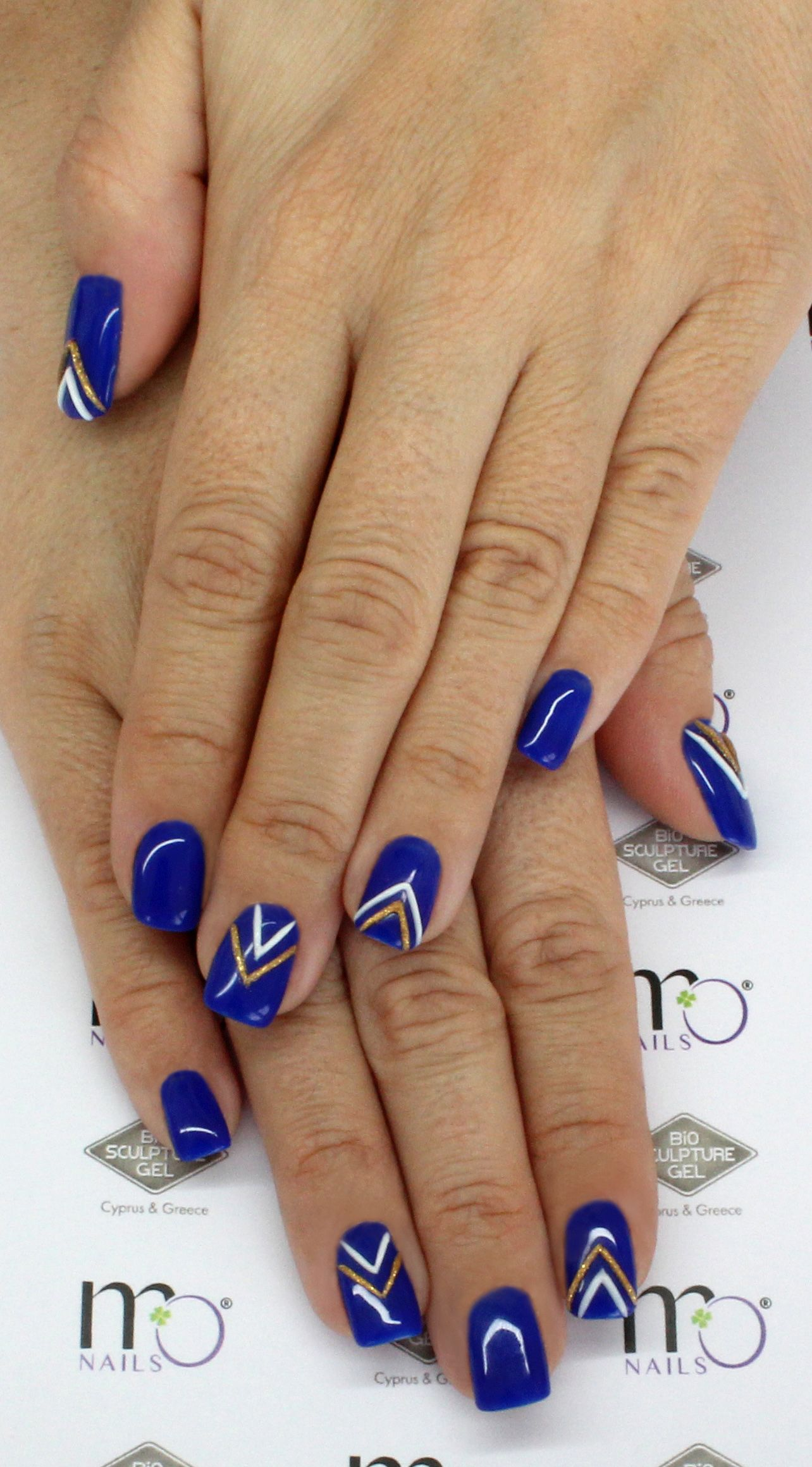 MO Nails #B6 Azure Blue with Emboss Gel #12 Royal Gold and #1 Solid ...