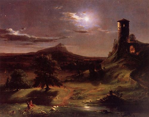 Cave To Canvas Thomas Cole Moonlight 1833 34 Moonlight Painting Hudson River School Landscape Paintings