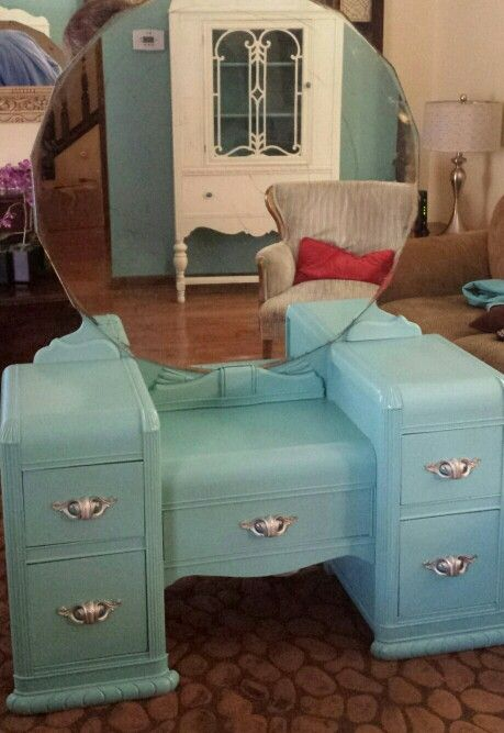 Most Beautifull Deco Paint Complete Bed Set: Vintage Waterfall Vanity Painted A Custom Color In