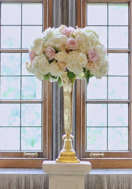 Elevated Gold Centerpieces Ceremony Decor Ivory White Blush And Taupe Garden Roses For U Of M Union Wedding By Sweet Pea Fl Design Sweetpeadetroit