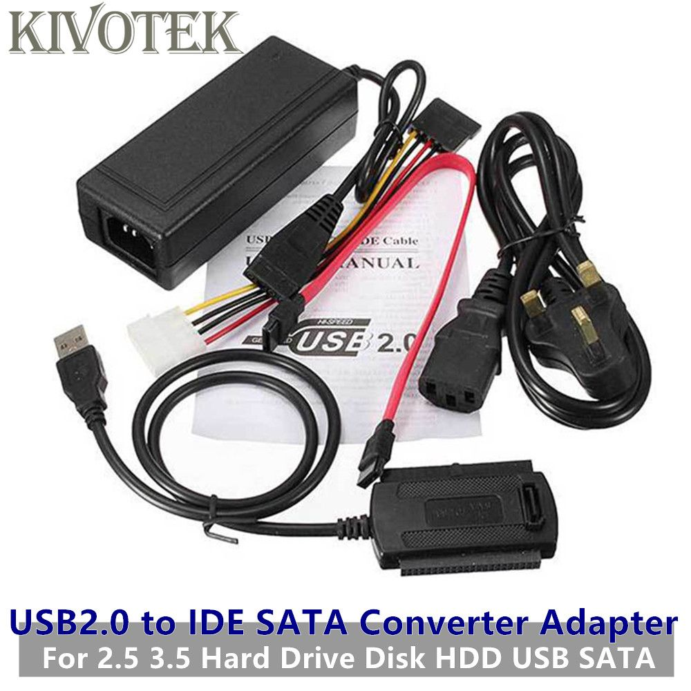 Find More Computer Cables Connectors Information About Kivotek Hot Usb 2 0 To Ide Sata Converter Adapter With Eu Us Power Supply For 2 5 3 Hdd Hard Drive Usb